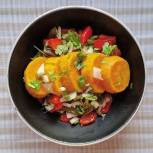 Sweet potato, roast pepper & coriander salad