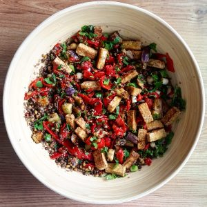 Lentil, aubergine and crispy tofu salad