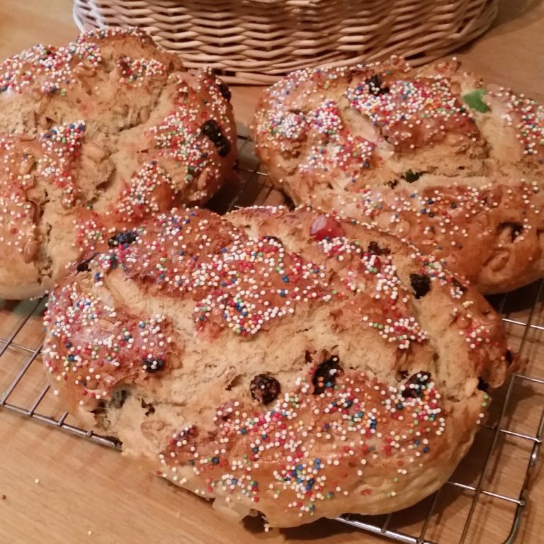 Pan dulce, traditional from Gibraltar with nuts and candied fruits