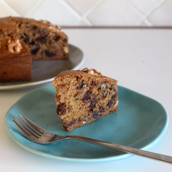 Date & walnut cake, dairy free and vegan