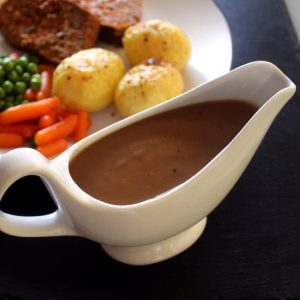 Vegetarian gravy sauce, vegan. Perfect for any roast