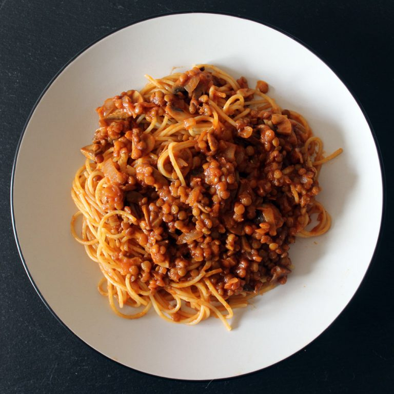 Lentil bolognese with mushrooms