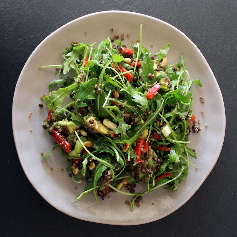 Avocado quinoa lentil & mint salad