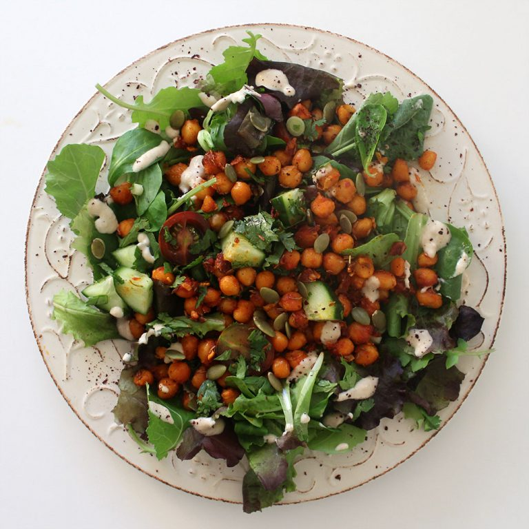 Crispy chickpea salad with tahini dressing