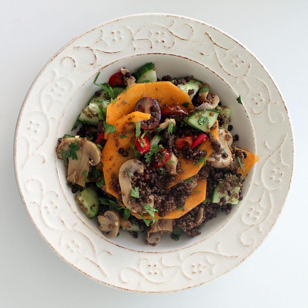 Puy lentil, quinoa and butternut squash salad
