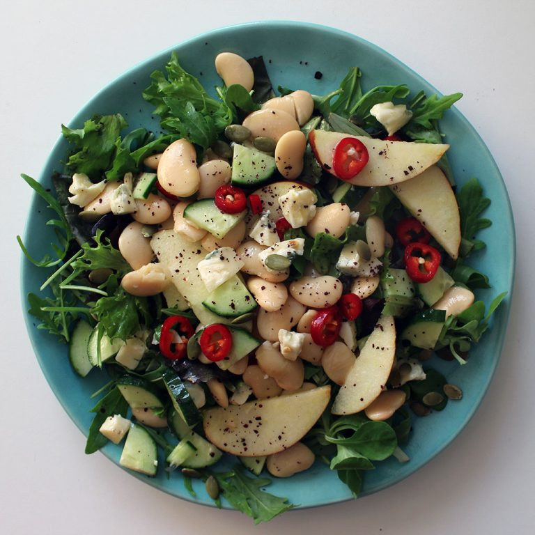 Apple, blue cheese and butter bean salad