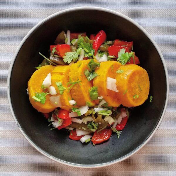 Sweet potato, roast pepper & coriander salad