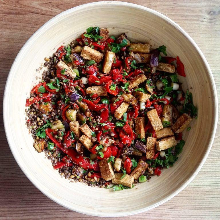 Lentil, aubergine and crispy tofu salad