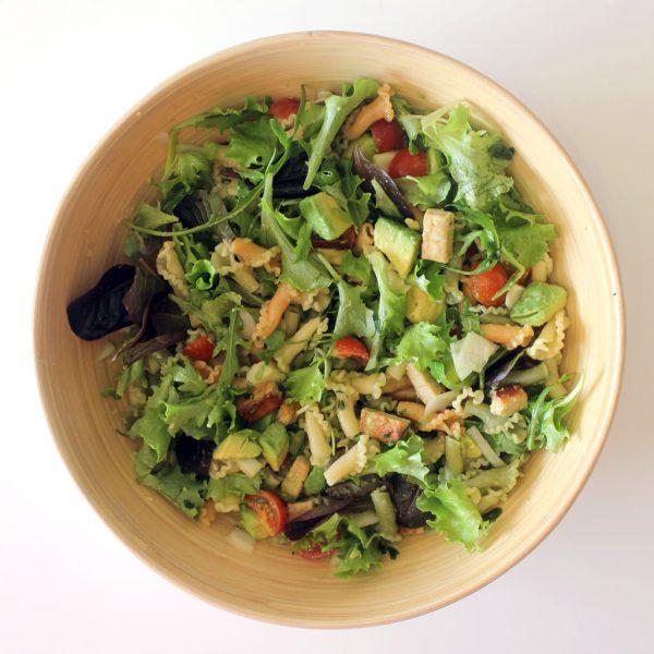 Avocado & quorn pasta salad