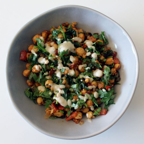 Pan fried chickpeas with tahini sauce