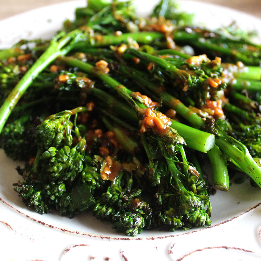 Griddled broccolini with a peanut sauce