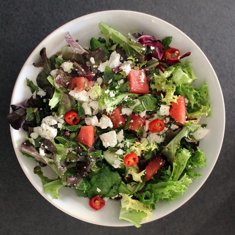Feta cheese, mint, watermelon and chilli salad