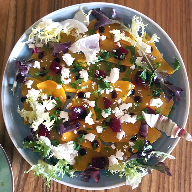 Butternut squash carpaccio with cheese, beetroor and a sweet balsamic vinegar dressing