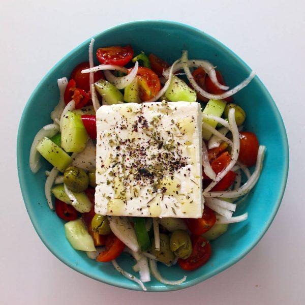 Greek style feta cheese salad