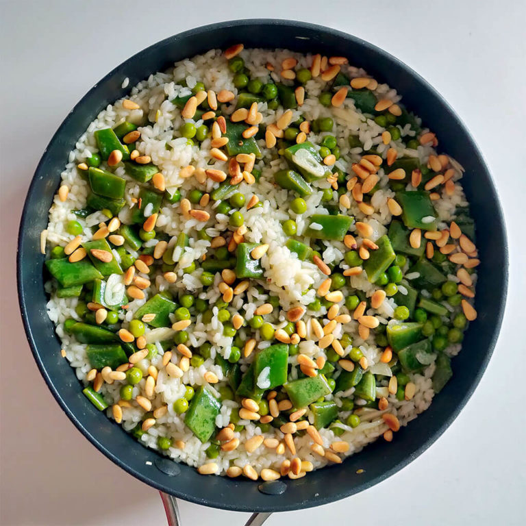 Rice with peas and green beans